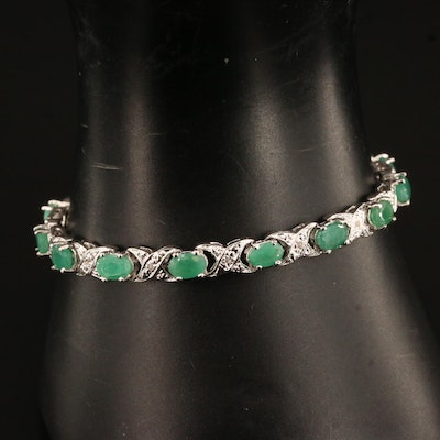 Sterling Silver Beryl and Diamond Link Bracelet Featuring Crossover Pattern