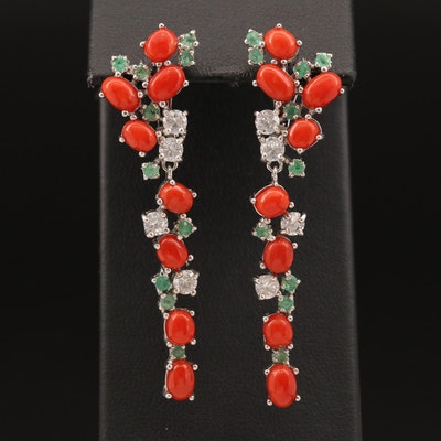 Sterling Coral, Emerald and Cubic Zirconia Dangle Earrings