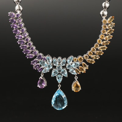 Sterling Silver Topaz, Citrine and Amethyst Drop Necklace