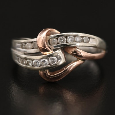 10K Two-Tone Diamond Heart Ring