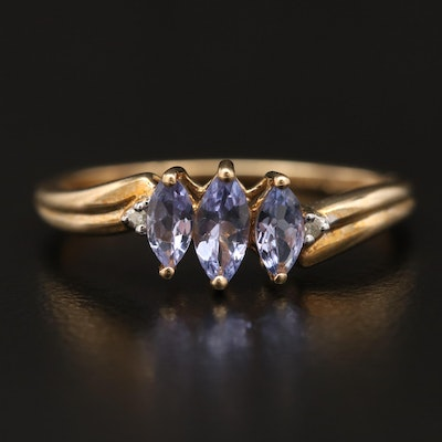 10K Tanzanite and Diamond Ring