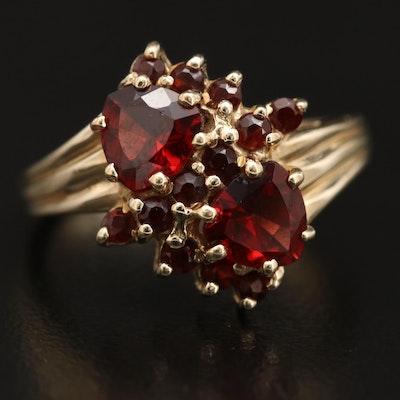 10K Garnet Bypass Ring