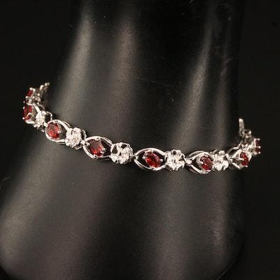 Sterling Silver Garnet Floral Motif Bracelet