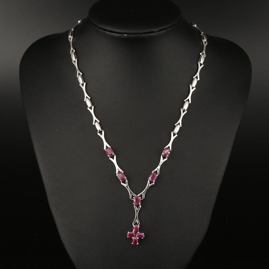 Sterling Silver Corundum Cross Pendant Necklace