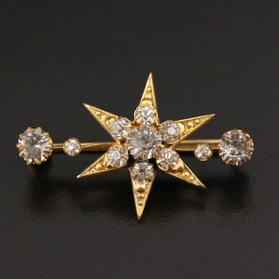 Antique Rhinestone Star Brooch