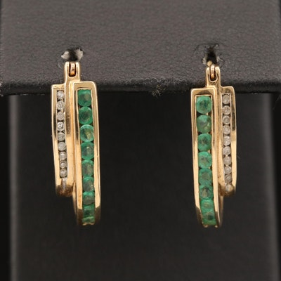 10K Diamond and Emerald Double Hoop Earrings