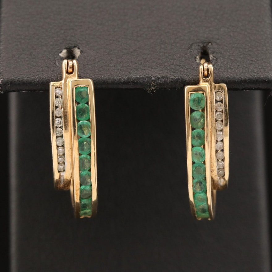 10K Diamond and Emerald Double Hoop Earrings