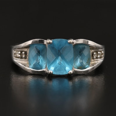 10K Swiss Blue Topaz and Diamond Ring