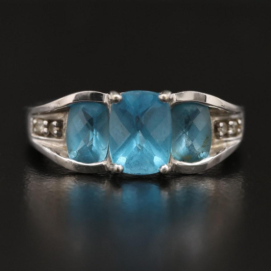10K Swiss Blue Topaz and Diamond Ring