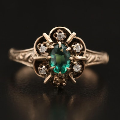 Antique Ostby & Barton 10K Emerald and Diamond Ring