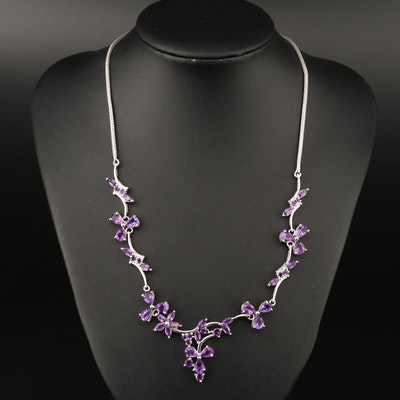 Sterling Silver Amethyst Floral Necklace