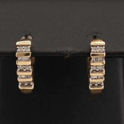 10K Diamond Heart Shaped Huggie Earrings