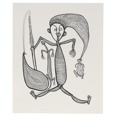 "Timothy Akis Serigraph ""Longpela Gras,"" circa 1977"