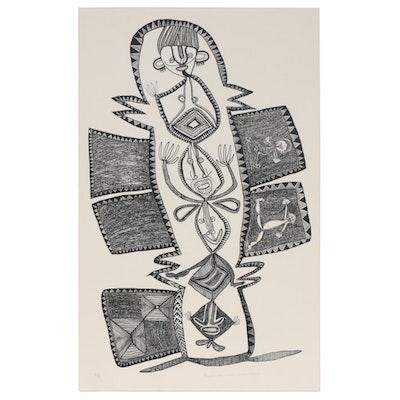 "Timothy Akis Serigraph ""Faipela Man Wantaim Ol Gaden Bilong Ol"", circa 1977"
