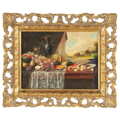 Johan Karoly Reinprecht Still Life Oil Painting, 20th Century
