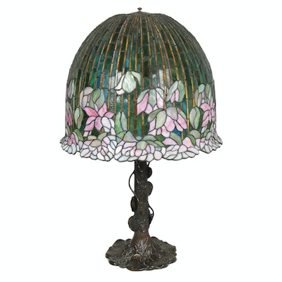 Art Nouveau Style Pink Peony and Bamboo Slag Glass Shade, Water Lily Base