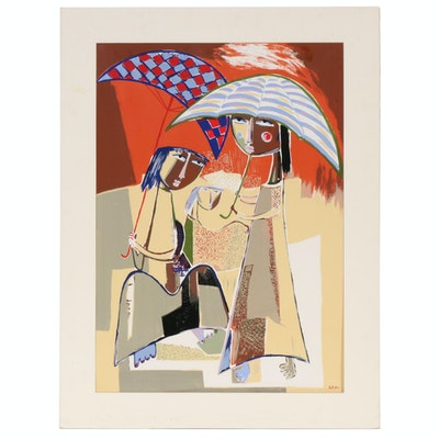 Serigraph after Ángel Botello of Women with Umbrellas