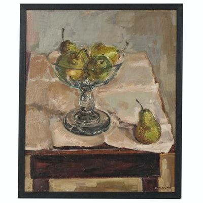 Camille Fleury Still Life Oil Painting of Bowl of Pears, 20th Century