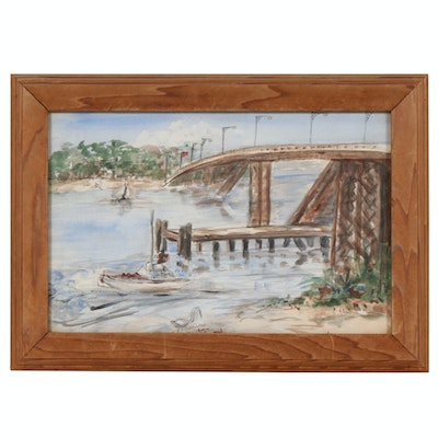 Bridge Landscape with Motor Boat Mixed Media Painting, Mid to Late 20th Century