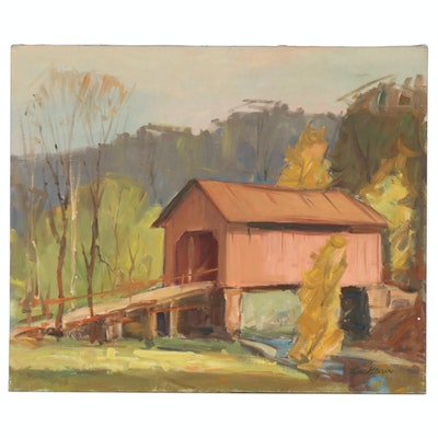 Lee Glaser Oil Painting of Covered Bridge, Mid to Late 20th Century
