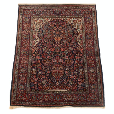 3'6 x 5'0 Hand-Knotted Persian Sarouk Prayer Rug