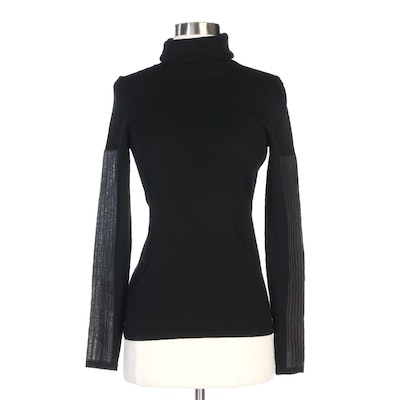 Chanel Cowl-Neck Sweater in Black Wool and Cashmere with Lambskin Accents