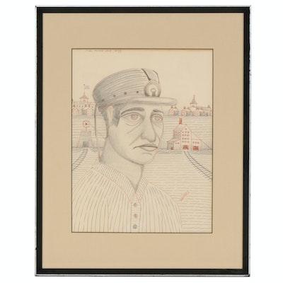 "Jack Savitsky Graphite and Colored Pencil Drawing ""Coal Miner Jack"", 1935"
