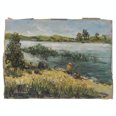 Bill Salamon Acrylic Painting of Fishing Scene, Late 20th Century