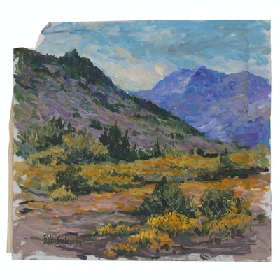 Bill Salamon Acrylic Painting of Mountainside Landscape, Late 20th Century