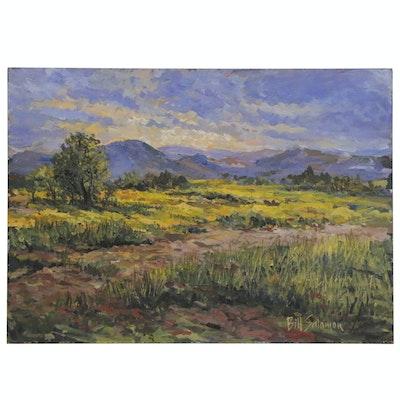 Bill Salamon Acrylic Landscape Painting of Field, Late 20th Century