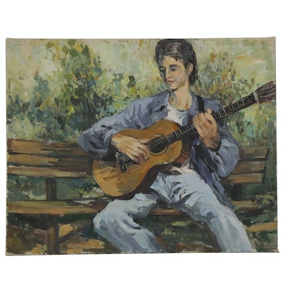 Bill Salamon Figural Acrylic Painting of Man with Guitar, Late 20th Century