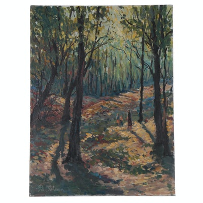 Bill Salamon Forest Landscape Acrylic Painting, Late 20th Century