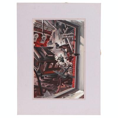W. J. Heffron Acrylic Painting of Train Wreck, 20th Century