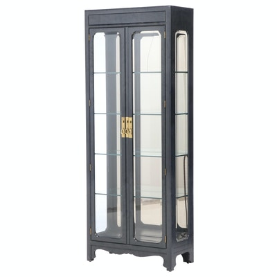 Henredon Chinese Style Ebonized Display Cabinet, Late 20th Century