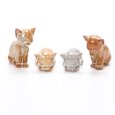Nicodemus Ferro-Stone Art Pottery Cat Figurines