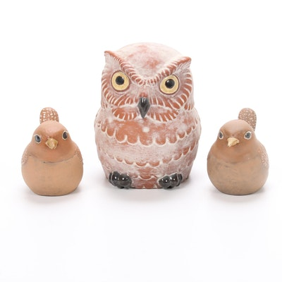 Nicodemus Ferro-Stone Art Pottery Sparrow and Owl Figurines