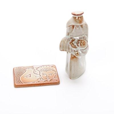 Nicodemus Ferro-Stone Art Pottery Virgin Mary and Child Figurine and Ornament