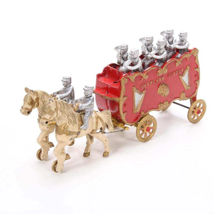 Cast Iron Overland Circus Horse-Drawn Wagon