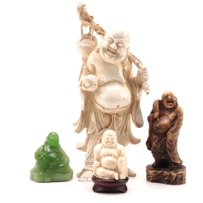 Ivory and Jade Resin Budai Figurines