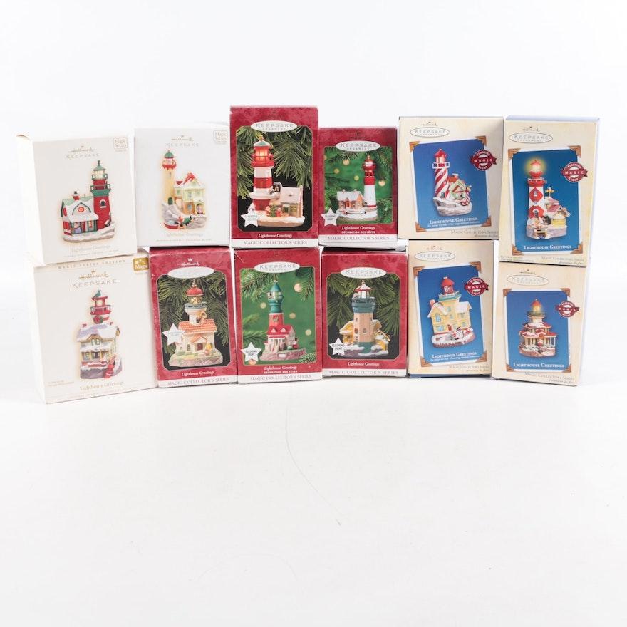 "Set of Hallmark ""Keepsake"" Lighthouse Ornaments"