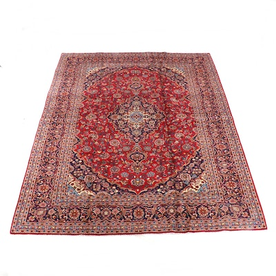 9'11 x 13'1 Hand-Knotted Persian Mashhad Wool Rug