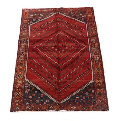 4'11 x 8'4 Hand-Knotted Persian Afshar Wool Rug