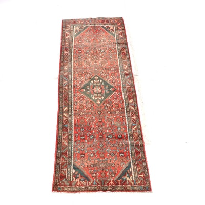 3'7 x 11'0 Hand-Knotted Persian Hamadan Wool Long Rug