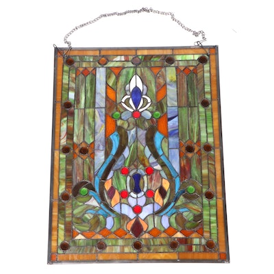Art Nouveau Style Slag and Stained Glass Window Panel, Late 20th Century