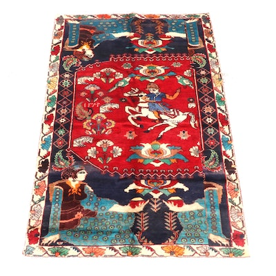5'2 x 9'2 Hand-Knotted Northwest Persian Wool Pictorial Rug