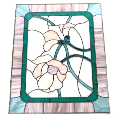 Stained and Slag Glass Pink Flower Theme Panel