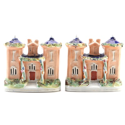 Pair of Staffordshire Ceramic Cottages, Mid to Late 19th Century