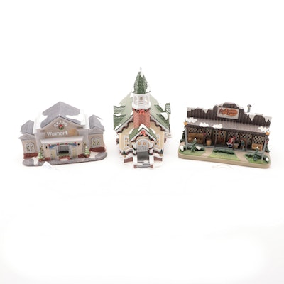"Dept. 56 Snow Village ""Stone Steeple Church"" and Other Christmas Buildings"