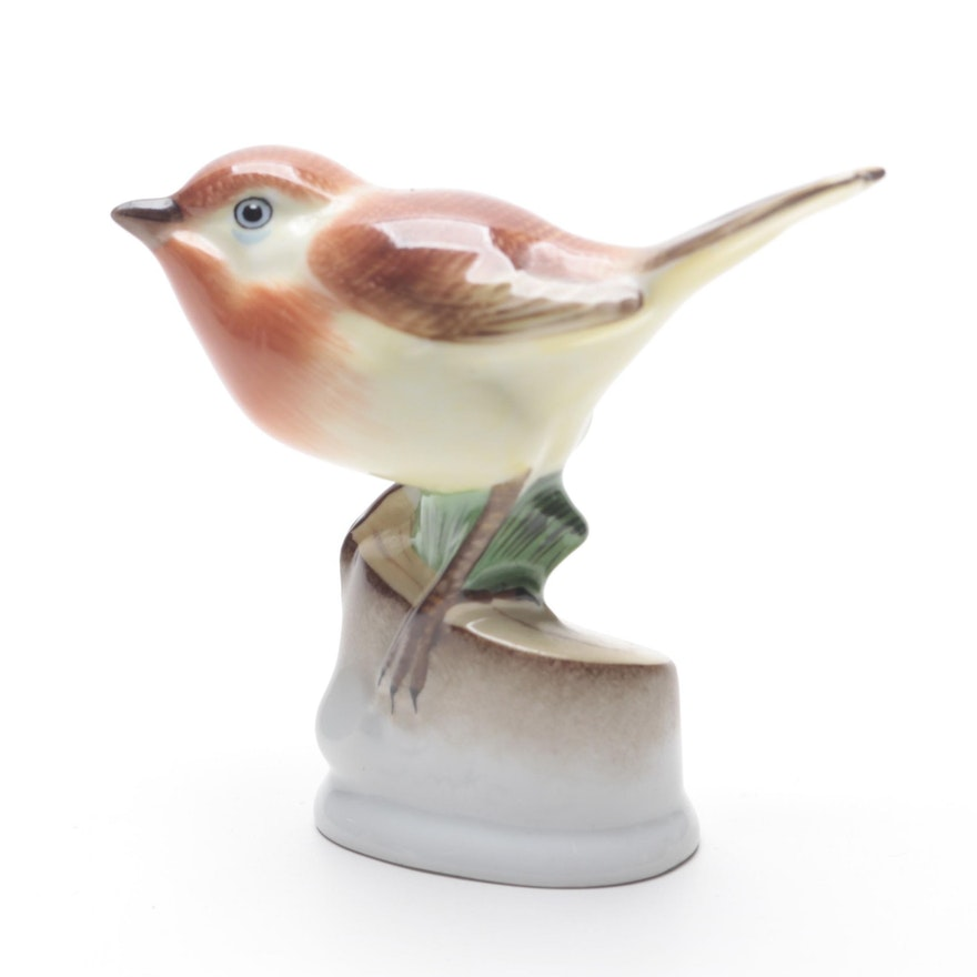 Herend Natural Bird on Stump Porcelain Figurine, 1930s