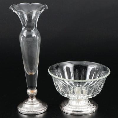 Sheffield Silver Co and Duchin Creations Glass and Sterling Footed Tableware